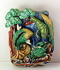 Chinese pottery hanging Wall Pocket/Vase, fish & crab design