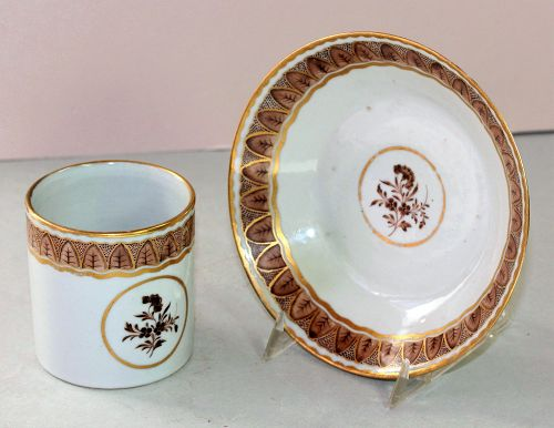 Chinese Export Porcelain Cup & Saucer, made for American Market