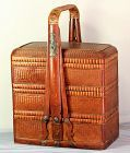 Chinese Bamboo 3 tier Food Basket with handle