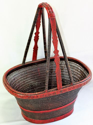Chinese Bridal Red Lacquered Bamboo Basket with handle