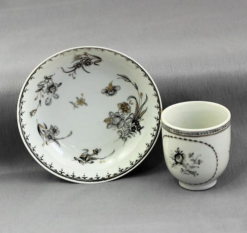 Chinese Export Grisaille decorated Porcelain Cup, Saucer