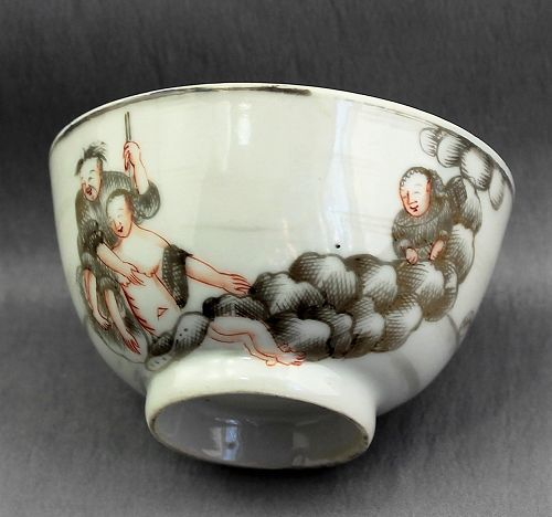 Chinese Export Porcelain Grisaille Erotic Tea Bowl, 18C