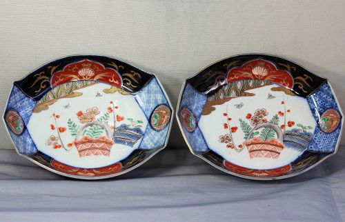 Pair Japanese Imari Porcelain Octagonal shape dishes