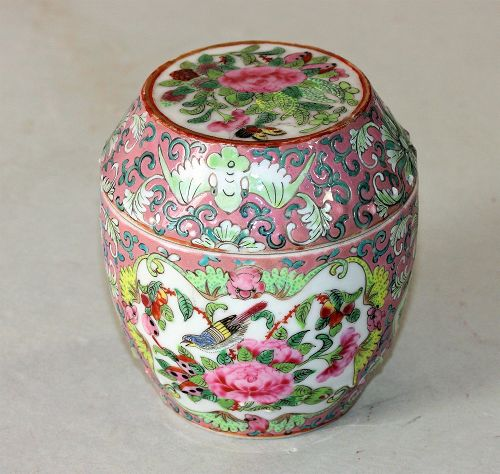 Chinese Export Famille Rose Porcelain covered Box, 19C.