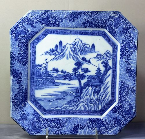 Japanese Blue & White Porcelain Transfer ware Platter