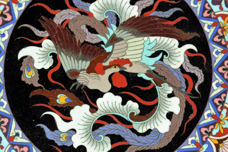Japanese Cloisonne Phoenix Bird Charger, Meiji period