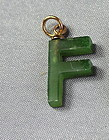 "Chinese spinach color Jade initial ""F"" ""U"" Pendants"