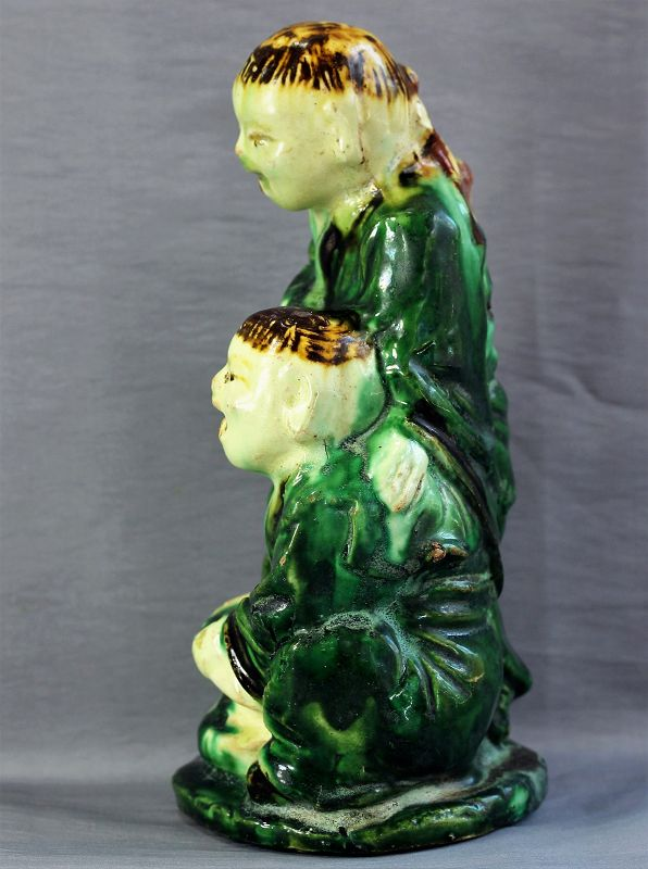 Chinese pottery Figure, two(2) men with large fish