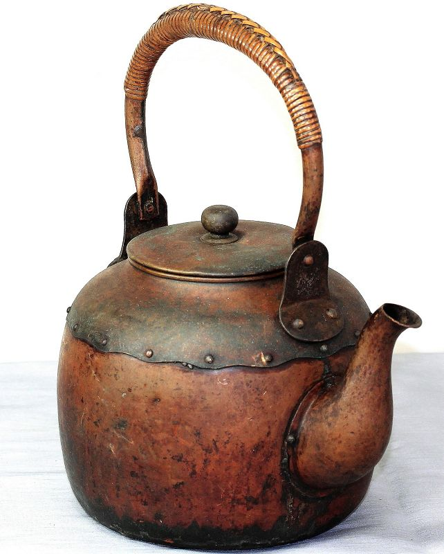 Japanese Copper Tea pot with Bamboo wrapped handle