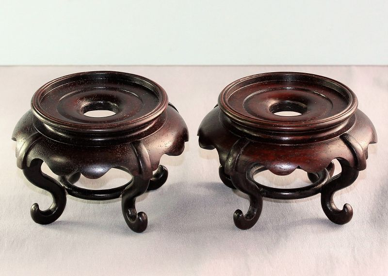 "Pair ""Hong Kong"" made Hardwood high leg Display Stands"