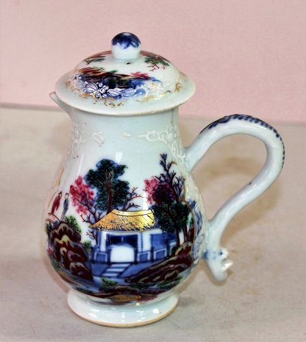 18th C. Chinese Export Porcelain Creamer with Top