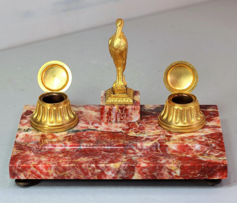 French pink Marble & Ormolu Desk set with inkwell & Seal