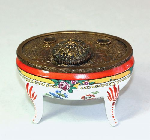 French Porcelain & gilded embossed metal mounted Inkwell Pen holder