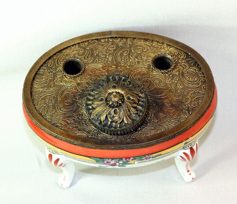 French Porcelain & gilded metal mounted Inkwell Pen holder