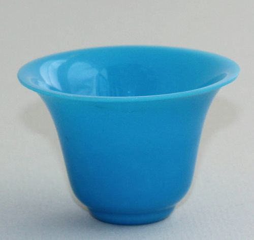 Chinese Turquoise color Peking Glass Cup, 19th C.