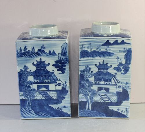 Pair Chinese Export Canton Blue & White porcelain Tea Canisters