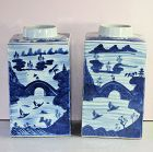 Pr. Chinese Export Canton Blue & White porcelain large Tea Canisters