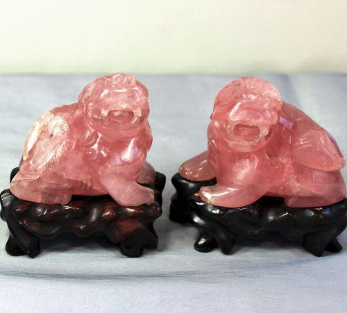 Pair Chinese Rose Quartz Foo Lions on hardwood stands