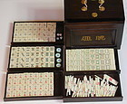 Chinese Mahjong set in Hardwood Box, Bone & Bamboo