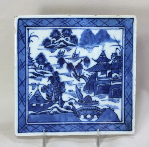 Chinese Export Canton Blue & White Porcelain Trivet/hot pad