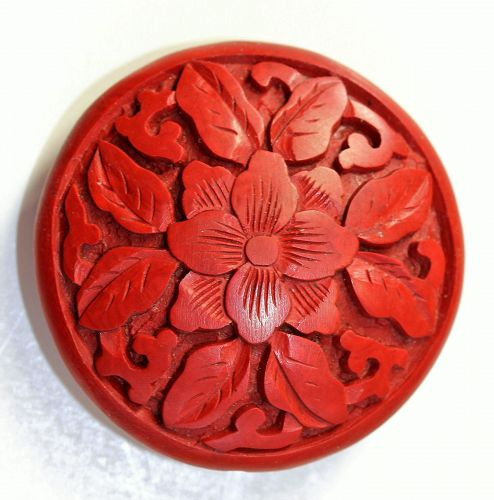 Chinese carved Cinnabar Lacquer large Pancake shape Bead