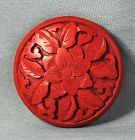 Chinese carved Cinnabar Lacquer large bead