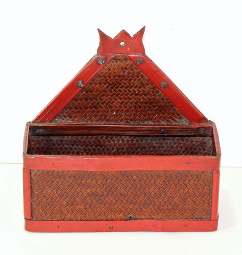 Chinese Red lacquer on Bamboo Bridal Wall Pocket