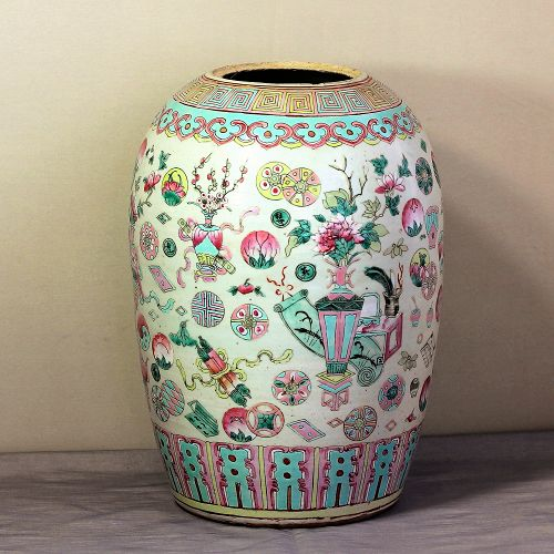 Chinese Famille Rose Porcelain Melon shape Jar, 19th C.