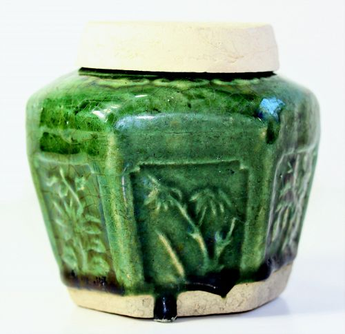 Chinese Pottery hexagonal shape green Covered Jar