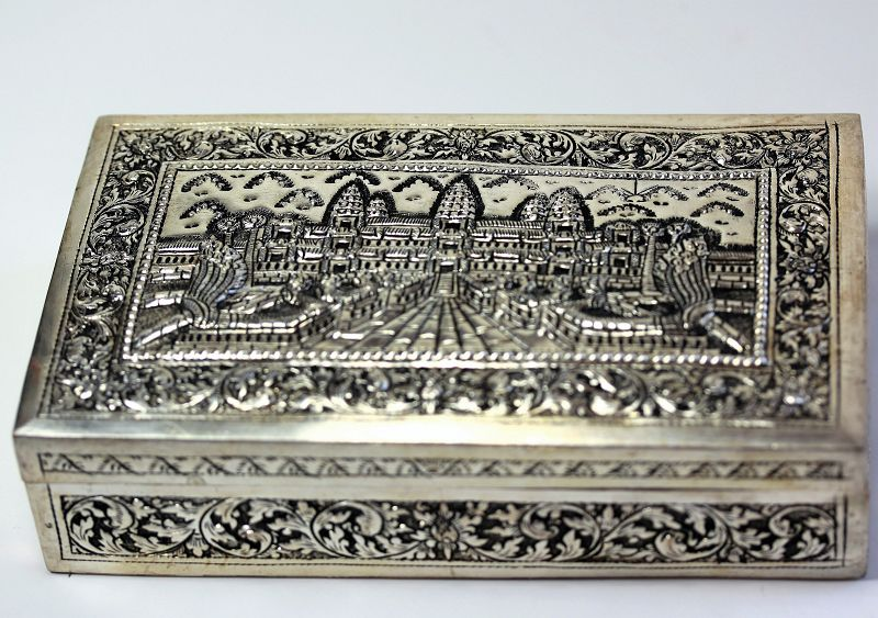 Cambodian Silver Angkor Thom design Box