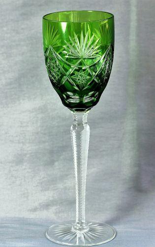 Bohemian Cut Crystal tall Wine Glass