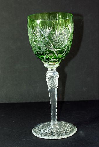Bohemian Cut Crystal tall green Wine Glass