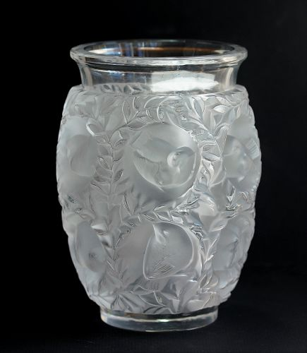 "French ""Lalique"" Art Glass Vase, signed ""Lalique, France"""