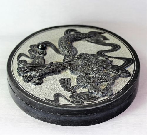 Chinese covered Black Inkstone with Dragon decoration