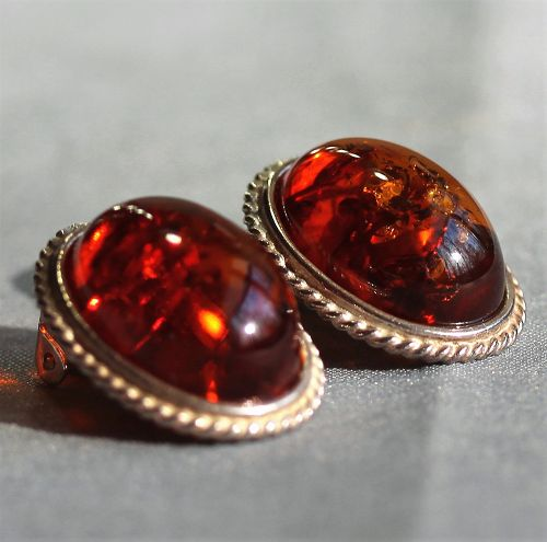 Pair Amber and 925 Sterling marked clip Earrings