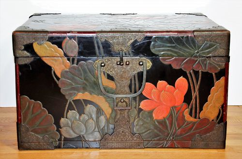 Japanese Lacquer Trunk with Lotus flower