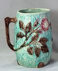 Majolica Pottery Pitcher with Wild Rose pattern
