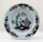 Dutch Delft Pottery Polychrome painted Dish, 18th C.