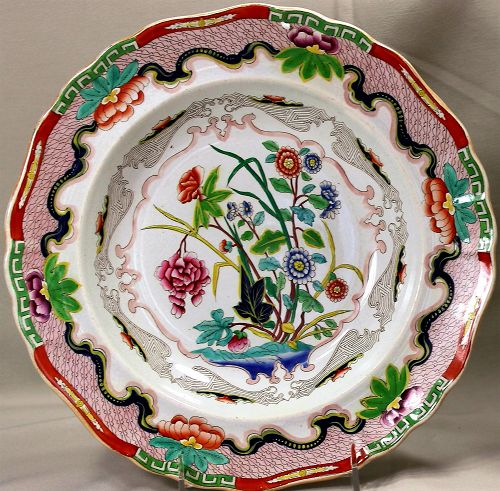 "English Staffordshire Ironstone ""Indian Stone China"" Soup Plate"