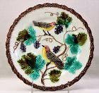 Majolica Plate with low relief Grapes and Birds design