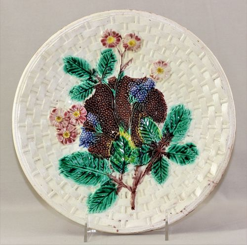 Majolica Dish with Black Berries
