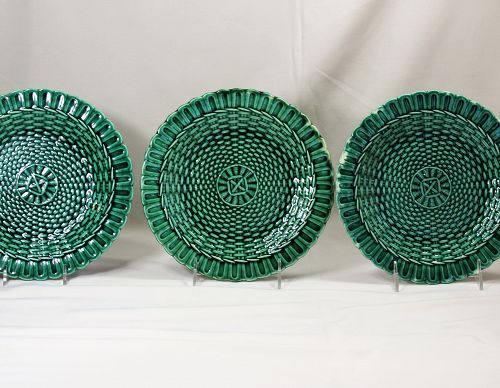 Three(3) Wedgwood Majolica Plates, Basket weave design