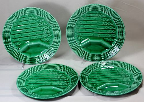 4 French Majolica glazed Faience Pottery Asparagus Plates