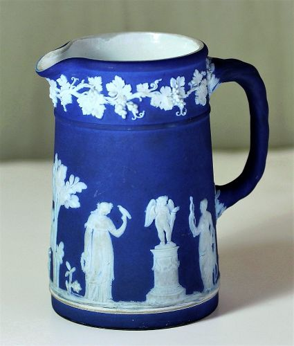 English Wedgwood Jasper Ware Pitcher, dark blue