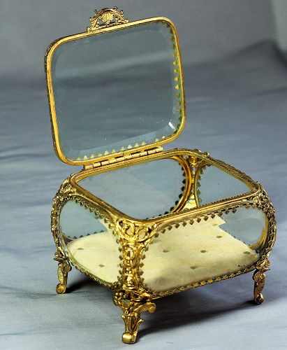 Beveled Glass Jewelry Box framed with gilt metal