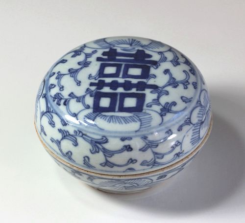 Chinese Blue and White Porcelain round covered Box