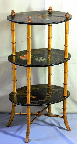 English Papier Mache triple tier Table, 19th C.