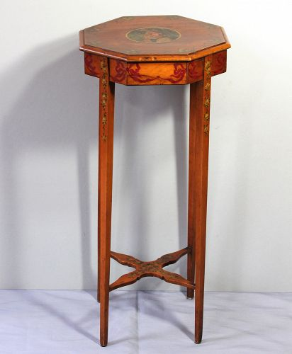 English Satinwood Polychrome hand painted octagonal tall Table