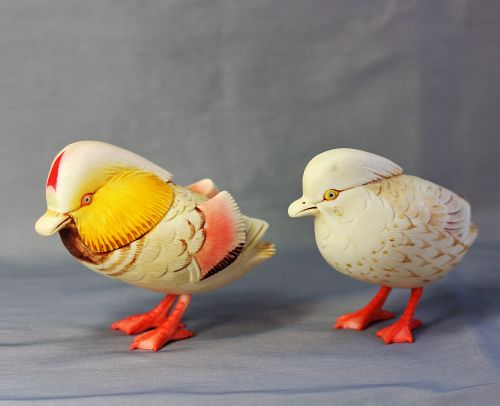 Pair Japanese colored carved Mandarin Ducks