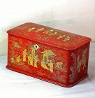 Chinese Export Chinoiserie design Red Lacquer Tea Caddy